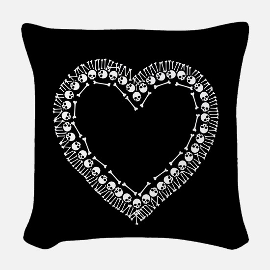 Pretty Skull Heart Woven Throw Pillow