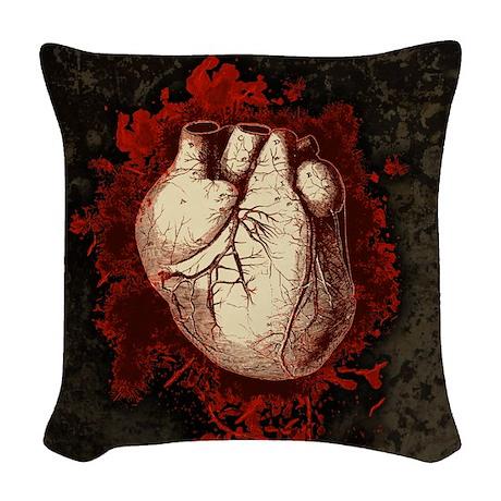 Grungy Red Human Heart Woven Throw Pillow