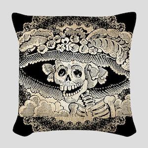 Vintage Catrina Calavera Woven Throw Pillow