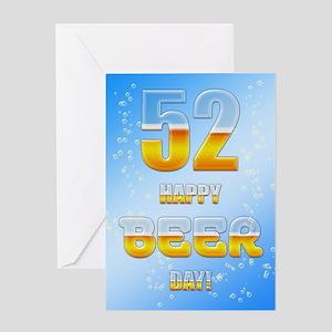 52nd birthday beer Greeting Card