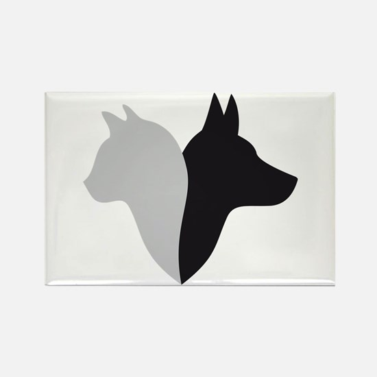 cat and dog head silhouette Rectangle Magnet