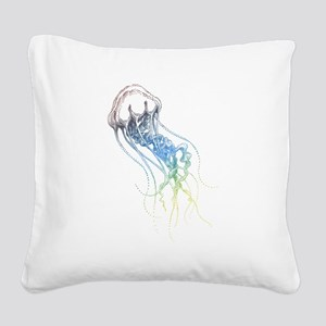 colorful jellyfish drawing Square Canvas Pillow