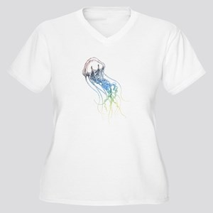 colorful jellyfish drawing Plus Size T-Shirt