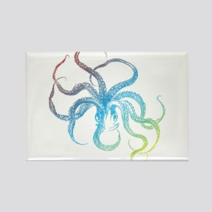 colorful octopus silhouette Rectangle Magnet