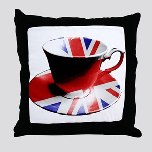 Union Jack Cup of Tea Throw Pillow