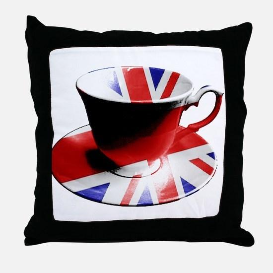 Union Jack Cup of Tea Throw Pillow