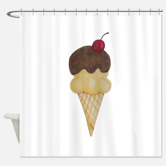 Cute Sweet Ice Cream Cone Shower Curtain