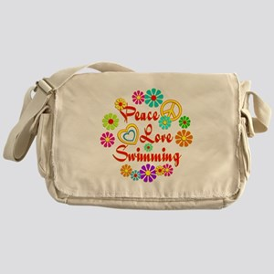 Peace Love Swimming Messenger Bag