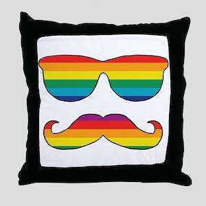 Rainbow Funny Face Throw Pillow