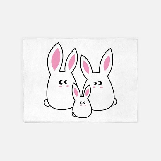 Trio of Rabbits 5'x7'Area Rug