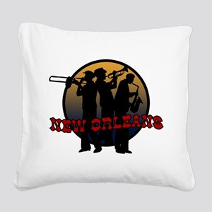 New Orleans Jazz Players Square Canvas Pillow
