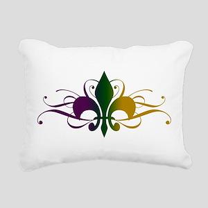 Purple Green Gold Fleur De Lis Rectangular Canvas