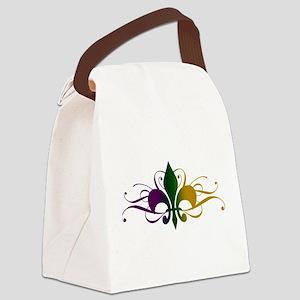 Purple Green Gold Fleur De Lis Canvas Lunch Bag