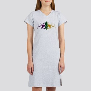 Purple Green Gold Fleur De Lis Women's Nightshirt