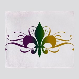 Purple Green Gold Fleur De Lis Throw Blanket