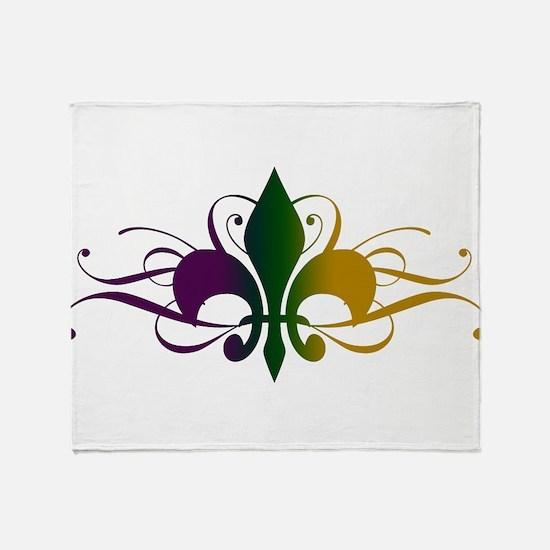 Purple Green Gold Fleur De Lis Throw Blanket