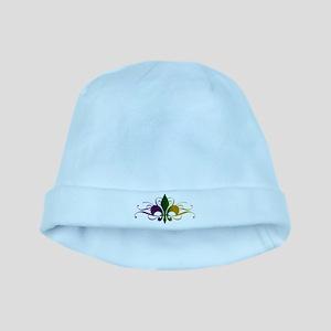 Purple Green Gold Fleur De Lis baby hat