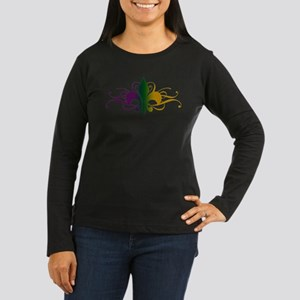 Purple Green Gold Fleur De Lis Women's Long Sleeve