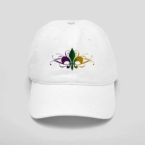 Purple Green Gold Fleur De Lis Cap