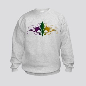 Purple Green Gold Fleur De Lis Kids Sweatshirt