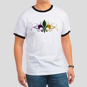 Purple Green Gold Fleur De Lis Ringer T