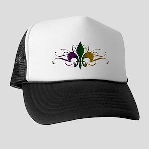 Purple Green Gold Fleur De Lis Trucker Hat