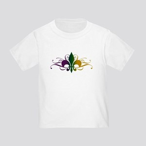 Purple Green Gold Fleur De Lis Toddler T-Shirt