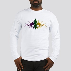 Purple Green Gold Fleur De Lis Long Sleeve T-Shirt