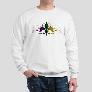 Purple Green Gold Fleur De Lis Sweatshirt