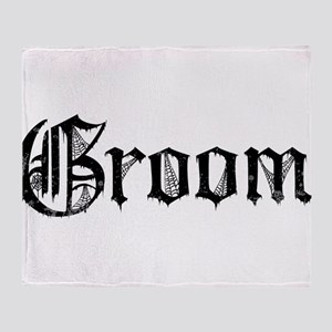 Gothic Text Groom Throw Blanket