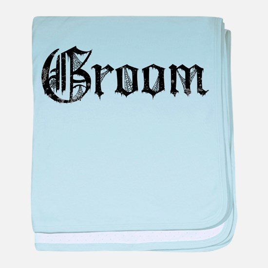 Gothic Text Groom baby blanket
