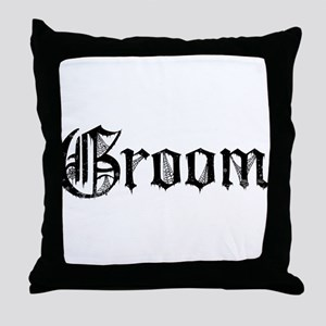 Gothic Text Groom Throw Pillow