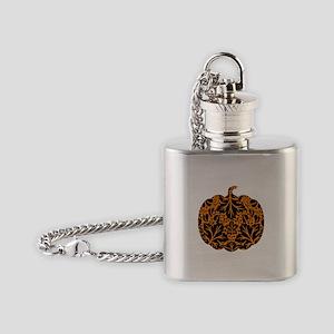 Damask Pattern Pumpkin Flask Necklace