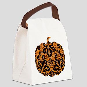 Damask Pattern Pumpkin Canvas Lunch Bag