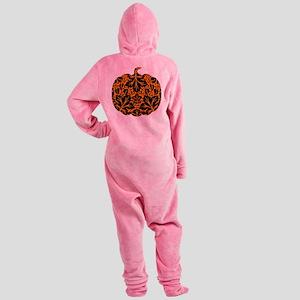 Damask Pattern Pumpkin Footed Pajamas