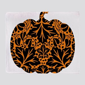 Damask Pattern Pumpkin Throw Blanket