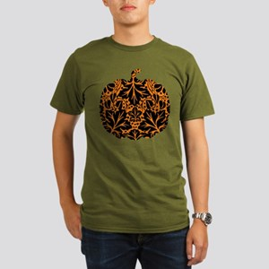 Damask Pattern Pumpkin Organic Men's T-Shirt (dark