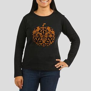Damask Pattern Pumpkin Women's Long Sleeve Dark T-