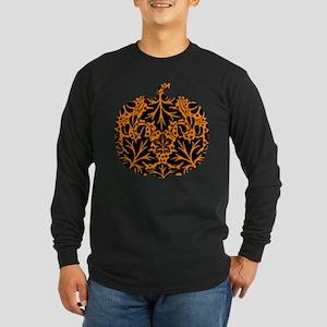Damask Pattern Pumpkin Long Sleeve Dark T-Shirt