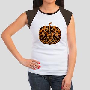 Damask Pattern Pumpkin Women's Cap Sleeve T-Shirt