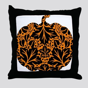 Damask Pattern Pumpkin Throw Pillow