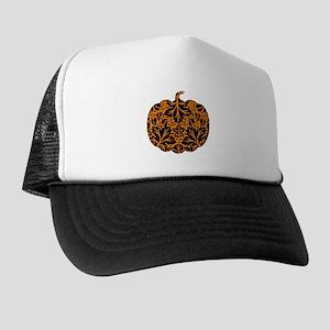 Damask Pattern Pumpkin Trucker Hat