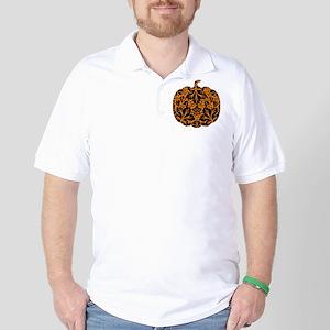 Damask Pattern Pumpkin Golf Shirt