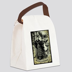 Victorian Halloween Bat Collage Canvas Lunch Bag