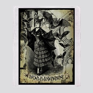 Victorian Halloween Bat Collage Throw Blanket
