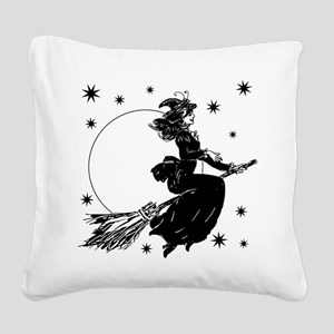 Old Fashioned Witch Square Canvas Pillow