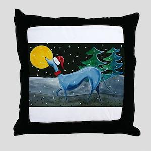 Christmas Italian Greyhound Throw Pillow
