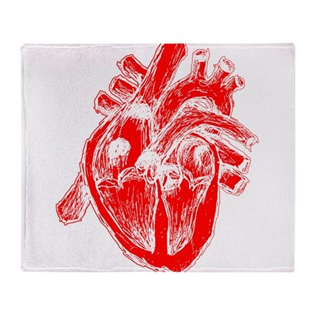 Human Heart Red Throw Blanket