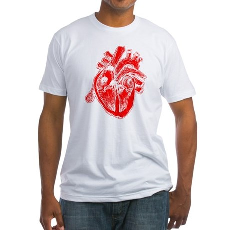 Human Heart Red Fitted T-Shirt