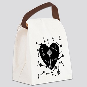 Heart And Keys Canvas Lunch Bag